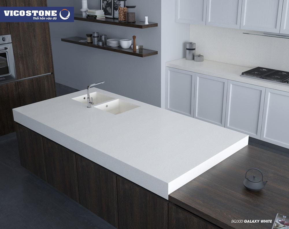 Mẫu đá bếp trắng mang lại sự tiện nghi, thư thái cho không gian bếp