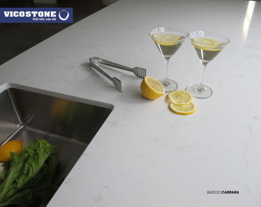 Mẫu đá bàn bếp trắng pha vân mây CARRARA BQ8220