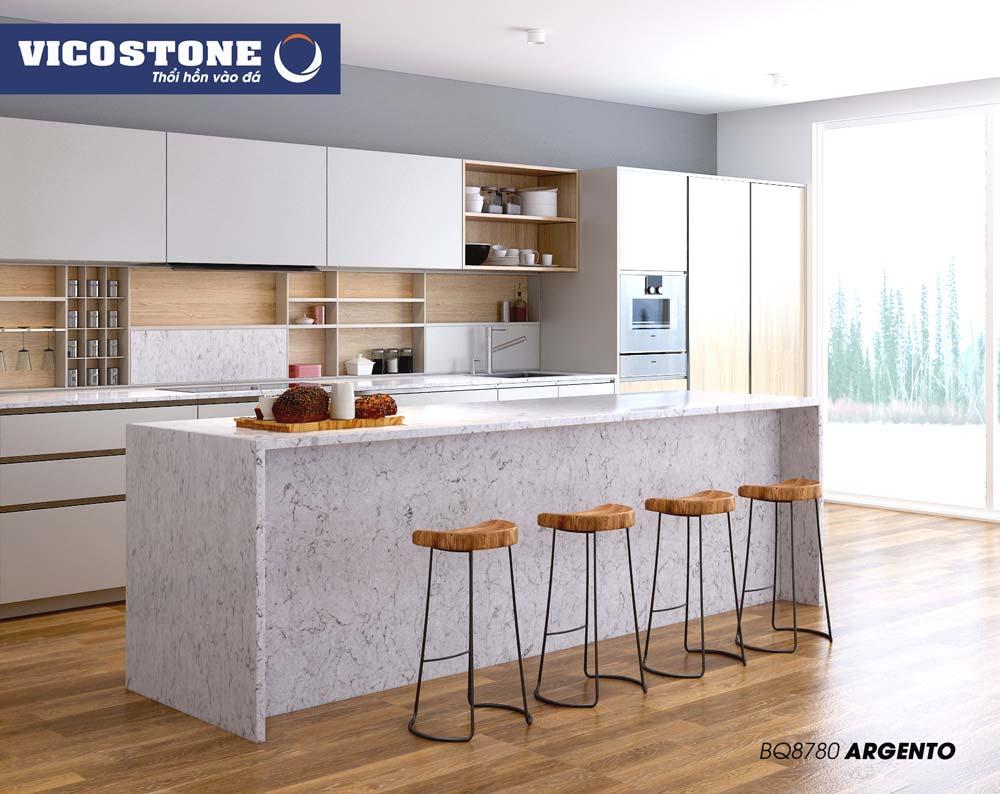 Mẫu đá bàn bếp trắng nhẹ nhàng ARGENTO BQ8780