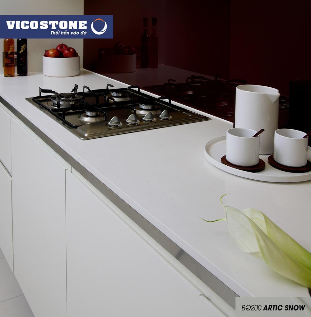 Mẫu đá bàn bếp trắng xứ ARTIC SNOW BQ200