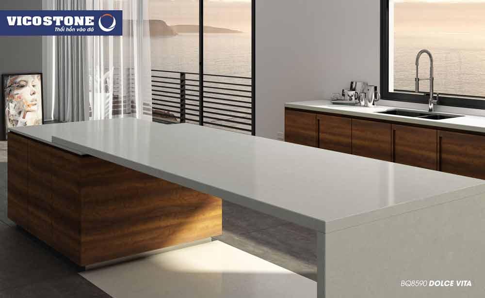 Chọn đá bàn bếp màu trắng có độ bền và độ cứng cao
