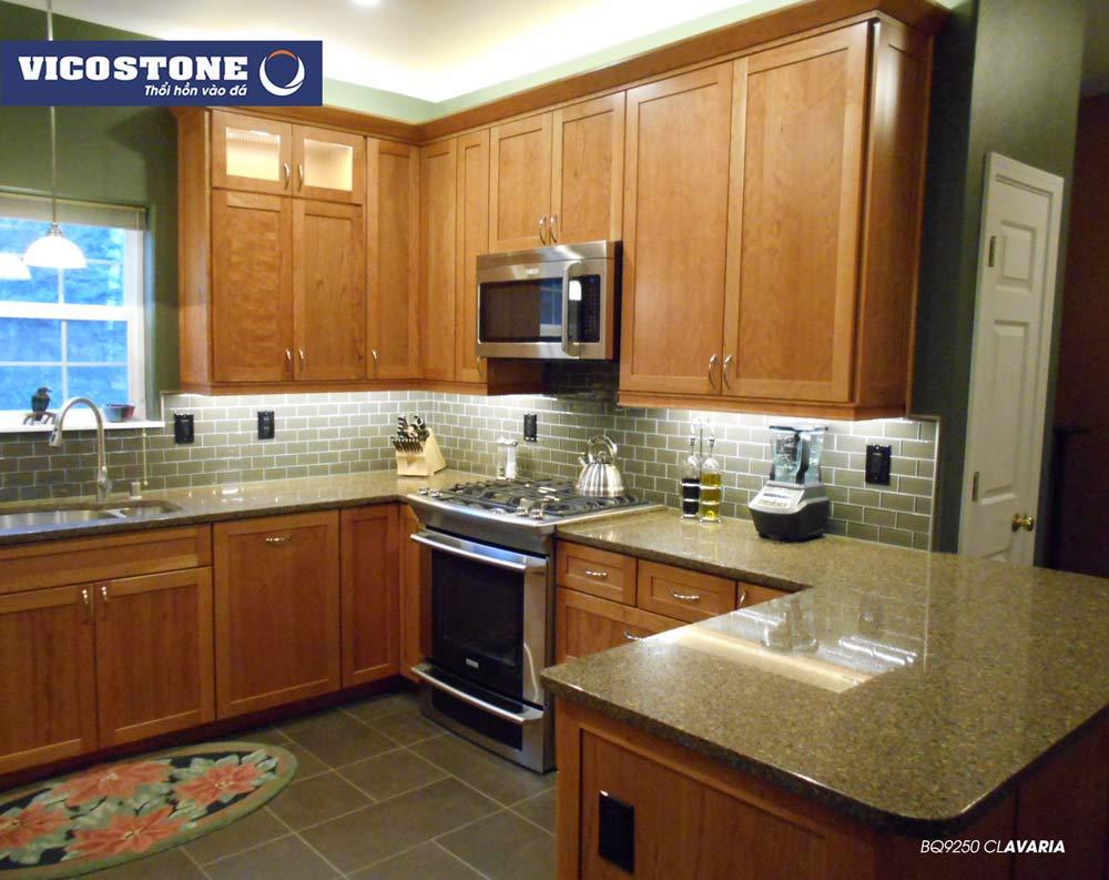 Mẫu đá ốp bàn bếp màu vàng truyền thống CLAVARIA BQ9250