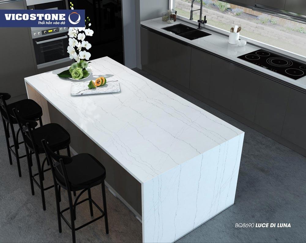 Mẫu đá ốp bàn bếp màu trắng LUCE DI LUNA BQ8690