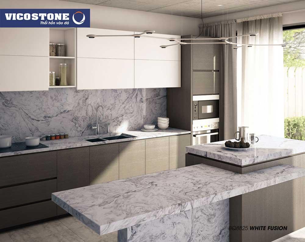 Mẫu đá BQ8825 White Fusion làm mặt bàn bếp